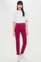 Topshop Cassis Clean Hem Straight Leg Jeans in Purple | coloured denim