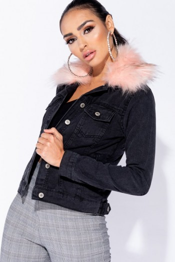 PARISIAN CHARCOAL PINK FAUX FUR COLLAR BUTTON FRONT DENIM JACKET