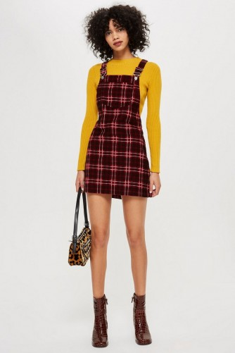 TOPSHOP Red Check Corduroy Pinafore Dress