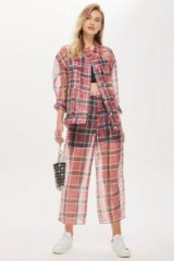 TOPSHOP Check Organza Jacket and Trousers Set / sheet tartan