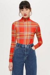 Topshop Red Check Slinky Funnel Top | fitted tartan turtleneck