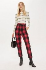 TOPSHOP Pink Check Tapered Trousers / tartan pants