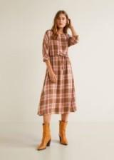 MANGO Checked linen dress CAMILA / county & western style
