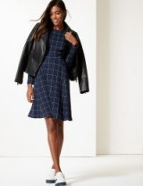 M&S COLLECTION Checked Long Sleeve Skater Dress Navy Mix / blue check print fit and flare