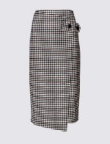 M&S COLLECTION Checked Pencil Midi Skirt with Wool Burgundy Mix / asymmetric wrap style