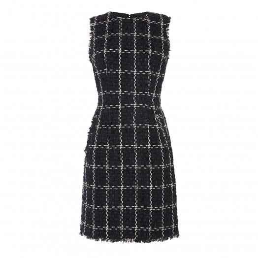 WAREHOUSE CHENILLE TWEED DRESS in Black