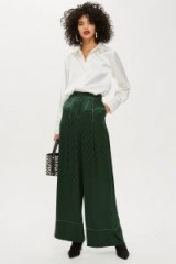 Topshop Chevron Contrast Stitch Trousers in Green | silky wide leg pants