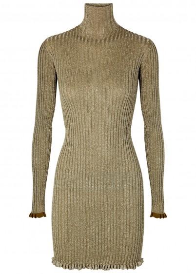 CHLOÉ Metallic-weave ribbed-knit dress / luxury knitted dress