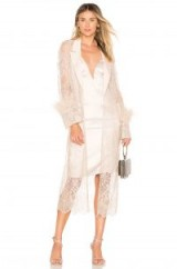 Chrissy Teigen X REVOLVE JET LAGGED BED JACKET Champagne – sheer lace event coats