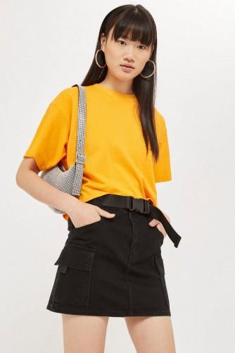 Topshop Clip Belted Denim Skirt in Black