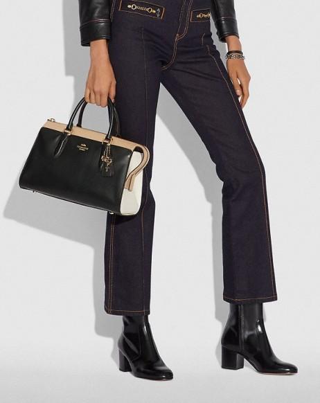 COACH x Selena Bond Bag In Colorblock BLACK MULTI/GOLD | colourblock leather handbags