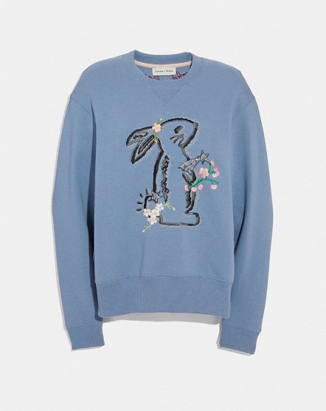 COACH x Selena Bunny Sweatshirt DUSTY BLUE | cute rabbit embroidered top