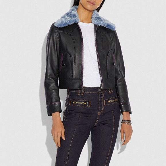 COACH X Selena Black Leather Jacket With Blue Faux Fur Collar | casual autumn style
