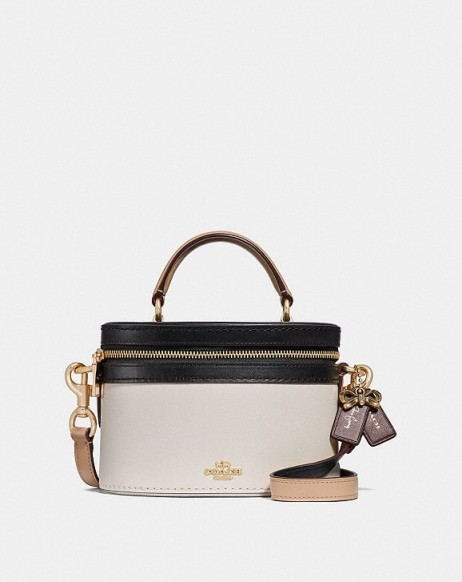 COACH x Selena Trail Bag In Colorblock CHALK MULTI/GOLD | small top handle bags