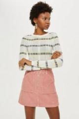 Topshop Pink Corduroy Skirt with Zip