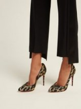 CHRISTIAN LOUBOUTIN Corneille 100 metallic leopard-brocade pumps / shimmering gold threads