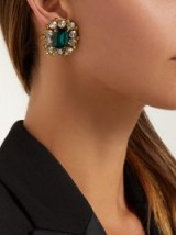 DOLCE & GABBANA Green and Clear Crystal clip earrings ~ glamorous statement clips