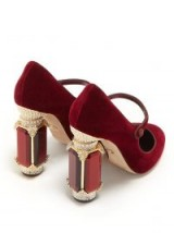 DOLCE & GABBANA Crystal-embellished Mary-Jane burgundy velvet pumps ~ jewelled block heels
