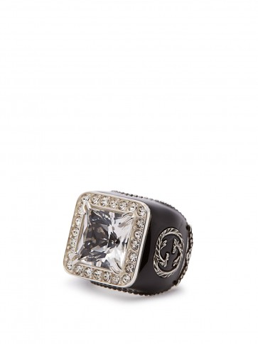 GUCCI Crystal-embellished signet ring / large statement jewellery