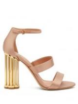 SALVATORE FERRAGAMO Daiano column-heel pink satin sandals