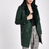 RIVER ISLAND Dark green faux suede fallaway jacket – fur collared winter coats