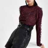 RIVER ISLAND Dark red lace long sleeve top – burgundy beaded blouse