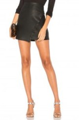 David Lerner WRAP SKIRT in Black | leather look mini