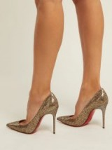 CHRISTIAN LOUBOUTIN Decollete 100 metallic-gold leather pumps / glittering courts