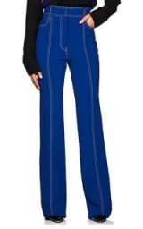 DEREK LAM Topstitched High-Waist Flared Crepe Pants French Blue