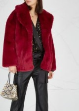 DIANE VON FURSTENBERG Dark red faux fur jacket / jewel tones