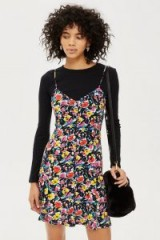 Topshop Ditsy Button Mini Slip Dress | floral cami frock
