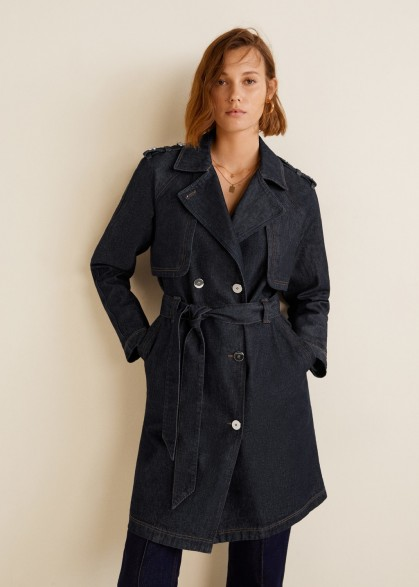 Mango Double breasted denim trench – 70s vintage look coat