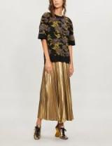 DRIES VAN NOTEN High-waist gold metallic-plissé skirt