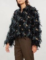 DRIES VAN NOTEN Sequin and crystal-embellished fringed wool-blend jacket in black / shaggy fur style jacket