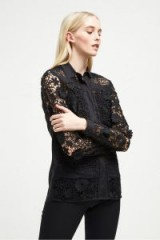 FRENCH CONNECTION EADU LACE PANELLED SHIRT in Black – semi sheer sleeves