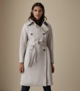 Reiss EILISH DOUBLE BREASTED COAT NEUTRAL / classic waist tie coat