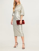 EMILIA WICKSTEAD Elissa puff-sleeve silver metallic-knit dress