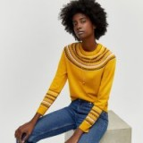 WAREHOUSE FAIR ISLE JUMPER Mustard / yellow patterned sweater
