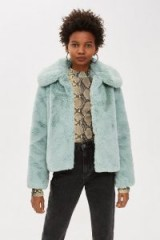 TOPSHOP Faux Fur Coat in Pistachio