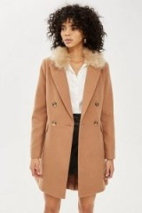 Topshop Faux Fur Collar Camel Coat | brown winter coats