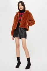 Topshop Faux Fur Zip Up Hoodie in Tobacco | autumn colours | fluffy brown jackets