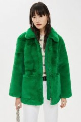 TOPSHOP Green Faux Fur Zip Up Jacket