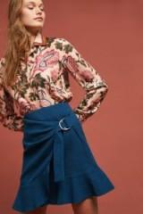 Maeve Federeka Belted-Wrap Skirt Dark Turquoise ~ frill hemline