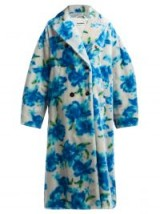 JIL SANDER Fidenza blue double-breasted mohair-blend coat ~ soft feel oversized floral coats