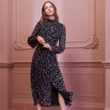 L.K. Bennett FILIA NAVY SILK DRESS in MIDNIGHT BLUE / floaty star print frock