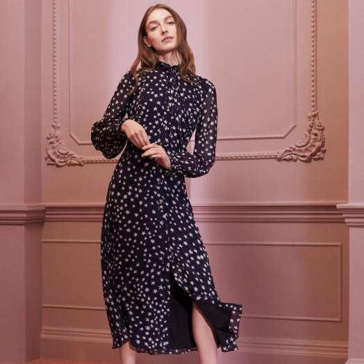 L.K. Bennett FILIA NAVY SILK DRESS in MIDNIGHT BLUE / floaty star print frock