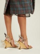 PRADA Flame gold patent-leather sandals ~ metallic wedge heels