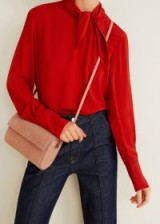 MANGO Pink Flap leather bag BARICCO / feminine crossbody