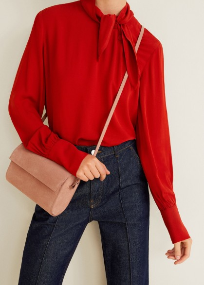 MANGO Pink Flap leather bag BARICCO / feminine crossbody