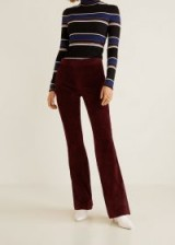 Mango Flared leather trousers in Maroon – 70s retro fashion